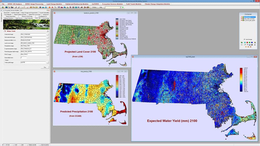 El Ecosystem Services Modeler (ESM) se basa estrechamente en las herramientas InVEST desarrolladas por el Proyecto Capital Natural. Se han implementado quince modelos de servicios ecosistémicos. En esta ilustración, el ESM se utiliza para evaluar el rendimiento y la escasez de agua en el año 2100 para el estado de Massachusetts. La predicción de la cobertura de la tierra fue generada por Land Change Modeler en TerrSet y la precipitación prevista fue generada por Climate Change Adaptation Modeler en TerrSet. Los resultados del rendimiento del agua se utilizan para calcular el potencial hidroeléctrico a nivel de subcuenca en el año 2100